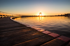 Geelong Sunrise (Marty Friedel) Tags: wood morning blue orange texture water swim sunrise landscape bay pier early outdoor au australia victoria baths geelong
