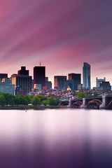 Sunrise Light over Beacon Hill and Charles River with Downtown Boston Skyline (Greg DuBois - Sponsored by LEE Filters) Tags: city longexposure morning pink light sky urban usa cloud motion blur water boston skyline clouds sunrise canon wow photography golden early photo movement colorful downtown cityscape photographer purple unitedstates cloudy photos massachusetts charlesriver stock newengland surreal wallart stretch telephoto northeast westend beaconhill longfellowbridge eastcoast statehouse memorialdrive 6d millenniumtower leefilters graduatedfilters bigstopper gregdubois