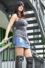 Chrissi 10 (The Booted Cat) Tags: sexy girl model legs boots jeans heels miniskirt overknee demin higheels