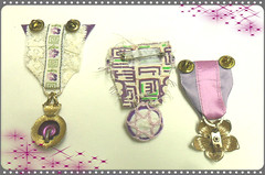 Altered Jewelry Ladies Medals (Jazzie Menagerie) Tags: new old flowers altered vintage lace buttons crochet grain jewelry pins gross ribbon rhinestones brooches medals destash jazziemenagerie