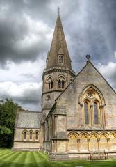 Ranmore Common Church (Raphooey) Tags: uk windows england sky cloud tower church window grass saint st stone clouds canon eos stonework lawn chapel surrey steeple spire gb dorking common hdr photomatix 70d ranmore