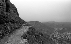 Hiking Path on Mount Arbel (Fogel's Focus) Tags: israel stand 28mm olympus rodinal zuiko f28 2012 1100 acros hikingtrip agfarodinal om1n 45min film:iso=100 legacypro100 developer:brand=agfa developer:name=agfarodinal film:brand=freestylearista freestylearistalegacypro film:name=freestylearistalegacypro100 filmdev:recipe=6345