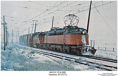 MILW E70 & 2060 (Robert W. Thomson) Tags: railroad electric train montana diesel railway trains milwaukee locomotive trainengine ge vendome milw emd sd40 milwaukeeroad littlejoe e70 cmstpp sixaxle chicagomilwaukeestpaulandpacific