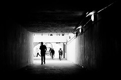 coming and going... (~ cynthiak ~) Tags: blackandwhite bw chicago streetphotography pedestriantunnel chicagoist