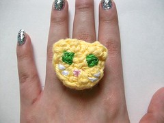 Yellow Kitty Crochet Ring (Mooy) Tags: cute animal shop handmade crochet jewelry rings kawaii etsy mooeyandfriends
