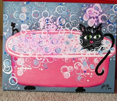 Tink in the Tub (Gina2424) Tags: cats cat painting whimsy colorful canvas acrylics aliceinwonderland 16x20