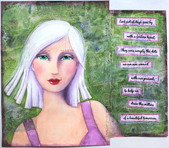 lifebook week 14 (artygirl2010) Tags: green art girl face pencils painting purple journal artjournal watercolourcrayons panpastels