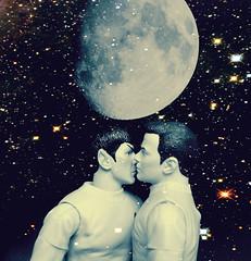 Kirk\Spock ~ Moon kiss (kirk loves spock) Tags: original gay startrek slash sky moon trek toys star kiss action spock figure theme vulcan starry pilot kirk shatner twopack nimoy