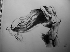 Slipping away (NoèliaEspinosa) Tags: woman black bird girl pencil hair naked nude mujer chica drawing dove negro picture paloma fantasy imagination dibujo pintura cabello pájaro impossible desnudo lápiz fantasía escapar imaginación imposibles slippingaway