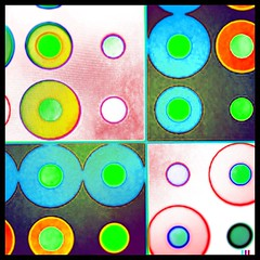 Dotty (Baky) Tags: blue red orange abstract color colour green art colors yellow japan weird colorful paint pattern colours arty bright artistic circles patterns jesus fake kitsch loops round around dots psychedelic wacky cartoonish iphone barky  baky barkyvision