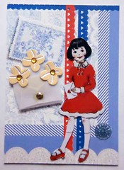 ATC1044 - Posting a letter (tengds) Tags: blue red girl atc collage stamp envelope letter reddress papercraft recycledpaper handmadecard tengds