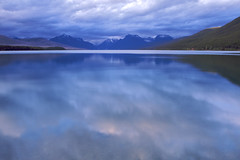 dusk spills over into lake macdonald (ls) Tags: reflections montana glaciernationalpark montanasunset lakemacdonald usnationalparks lakereflections northamericanlakes