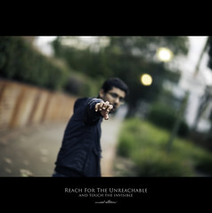 120 Quotes project | Quote 106 (Musaad (CJ)) Tags: street man blur peace dof hand bokeh fingers reach shallow f12