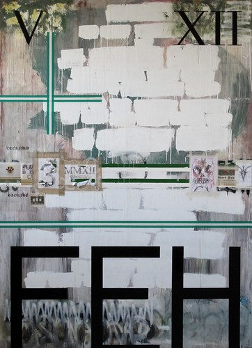 Zavier Ellis 'As Above, So Below', 2012 House paint, pencil, collage on board 275x200cm