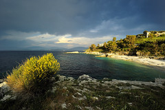 Last few rays over Kassiopi bay (Sunsword & Moonsabre) Tags: flowers light sunset sea sky sun sunlight seascape green beach nature water grass clouds island bay coast spring twilight nikon rocks colours view hiking shades greece corfu kerkyra 2012 balkan 1424 d700 nikonfx rememberthatmomentlevel4 rememberthatmomentlevel1 rememberthatmomentlevel2 rememberthatmomentlevel3 rememberthatmomentlevel5