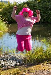 045 (Fearless Photoworks) Tags: park friends summer washington costume jump jumping cosplay kirkland eastside mlp mylittlepony juanitabeachpark juanitabeach pinkiepie cosplaypicnic