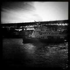The Borrowdale (Albion Harrison-Naish) Tags: light blackandwhite bw water monochrome ferry architecture square boat blackwhite sydney australia circularquay squareformat nsw newsouthwales cbd bnw sydneyharbour iphone johnslens iphoneography hipstamatic blackeyssupergrainfilm