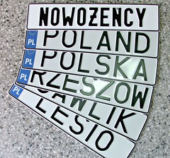 napisy na tablice rejestracyjne