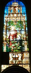 Saint Gervais church, Paris: stained glass (John Steedman) Tags: france church window frankreich stainedglass frankrijk francia stainedglasswindow parijs  parigi saintgervais    gervaisstained