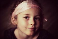 Pink ribbon (Green Iris Photography) Tags: pink light portrait eye girl ribbon