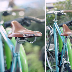 a bike in Zurich (sma_kee) Tags: travel green leather bike bicycle collage vintage cycling switzerland focus diptych bokeh swiss mosaic zurich bicicleta retro brooks vintagebicycle onwheels memoriesfromajourney ecotraveling