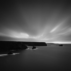 Near Dark [Explored] (Martin Mattocks (mjm383)) Tags: longexposure blackandwhite white seascape black water clouds mono rocks cornwall smooth coastline canoneos5dmarkii cornwalllandscapes mjm383 martinmattocksphotography