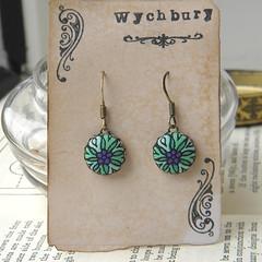 Stained Glass Daisy Earrings (Wychbury Designs) Tags: uk bronze necklace handmade buttons jewellery fabric earrings etsy pendant folksy wychbury