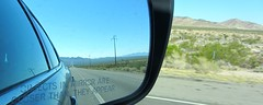 Objects in mirror are closer than they appear (walkinguphills) Tags: reflection mirror route66 reverse interstate40 californiandesert desertdriving