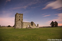 (Claire Hutton) Tags: uk longexposure blue trees light sky moon green church grass night clouds stars movement ruins time ruin trails east le dorset moonlight knowlton startrails csc wimborne earthworks englishheritage sonynex5r