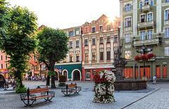 widnica old town in the summer, Poland (Maria_Globetrotter) Tags: street old city travel flowers trees sunset summer people sun house tourism water fountain beautiful architecture canon buildings wow wonderful square de star golden design soleil town photo amazing interesting fantastic perfect colorful europe day sonnenuntergang village south awesome w picture coucher eu poland polska pic facades visit tourist clear hour polen sunburst lower lovely sonne polonia attraction sommar lightroom solnedgng zachd soca pologne lato swidnica silesian kamienice 650d 1585 img0417 rynku widnicki mieszczaskie mariaglobetrotter
