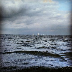 Sailing near Durgerdam - Storm is Coming (nicinico) Tags: sea sky storm water clouds dark boats boat waves open darkness sony cybershot sail