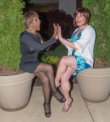 Patty Cake Girls! (kaceycd) Tags: pumps highheels mesh s tgirl seethrough stilettoheels pantyhose crossdress spandex lycra tg stilettos seethru minidress sexypumps opentoepumps peeptoepumps anklestrappumps