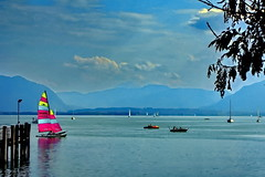 Bavaria, Lake Chiemsee Panorama (gerard eder) Tags: world travel reise germany bavaria bayern baviera deutschland alemania alpen alps alpes mountains see lake lago vacations vacaciones urlaub nature natur landscape landschaft paisajes