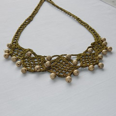 Golden brown bib crochet necklace (MaxMixShop) Tags: crochet fashionjewelry beadednecklace crochetnecklace fibernecklace