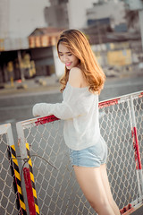 My girl (Freelance Photographer/ Designer) Tags: hello sunset sun sunlight color cute beautiful smile hair 50mm vietnamese shot random bokeh outdoor chinese may sunny pinky cutie vietnam korean curly shooting shorts nhi người yến
