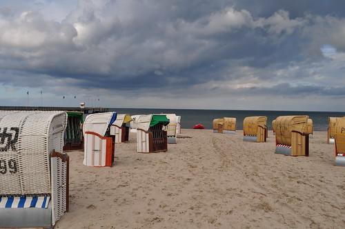 Les corbeilles, plage sur la Baltique, Dahme, Ostholstein, Schleswig-Holstein, Allemagne.