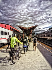(PrettyHungry) Tags: sky people public bicycle clouds train caltrain transportation transit commute commuter