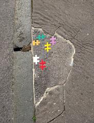Pavement installation by Ememem [Lyon, France] (biphop) Tags: europe france lyon croixrousse streetart ememem trottoir pavement mosaic puzzle installation rebouche trous
