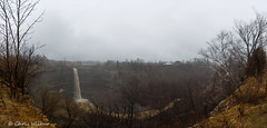 The Devil's Punchbowl Panorama (awaketoadream) Tags: winter panorama cliff ontario canada creek march waterfall gloomy angle cloudy devils hamilton wide niagara falls drizzly stoney escarpment punchbowl