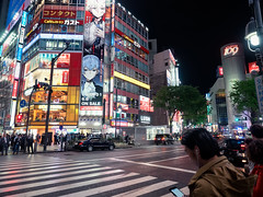Busy Night (Ted Tsang) Tags: street travel people car japan night tokyo is nightscape shibuya olympus tourists busy     em1  109departmentstore 1240mmf28