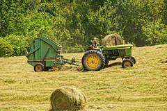 Rolling It (thetrick113) Tags: tractor green paint farm rake faded tired hay agriculture bale hdr hudsonrivervalley johndeere baler farmequipment 3020 hudsonvalley farmmachinery 410 2030 johndeeretractor roundbale farmimplement grasshay roundbaler johndeere2030 columbiacountynewyork newyorkagriculture johndeere3020 sonyslta65v newyorkstateagriculture elizavillenewyork johndeere410baler