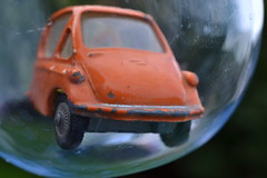 Bubble Car (mitchell_dawn) Tags: orange toy 60s heinkel bubble 1960s sixties toycar microcar diecast threewheeler bubblecar corgitoys macromondays
