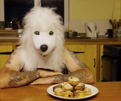 scones  179/366 (horsesqueezing) Tags: dog selfportrait baking mask poodle scones selfie day179366 366the2016edition 3662016 27jun16