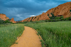 Roxborough State Park, Littleton, Colorado (thecheetahexpress) Tags: park red green grass clouds colorado rocks gloomy state path denver paths littleton roxborough