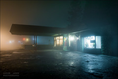 Wet night (Lucas Janin | www.lucas3d.com) Tags: california longexposure blue light usa plant color building tree wet rain shop fog night plante iso200 nikon outdoor lumire wide f10 24mm nikkor insomnia nuit arbre brouillard couleur lightroom humide long