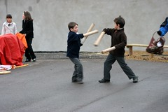 Play fighting (www.childrensscrapstore.co.uk) Tags: children childsplay outdoorplay childrensplay playpod scrapstore childrensscrapstore loosepartsplay