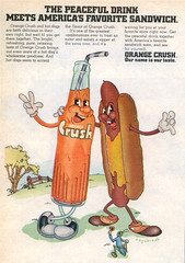 Orange Crush ad, 1971 (STUDIOZ7) Tags: summer advertising hotdog peace cartoon ad suburbia peaceful pop soda 1970s seventies softdrink orangecrush bobzoell
