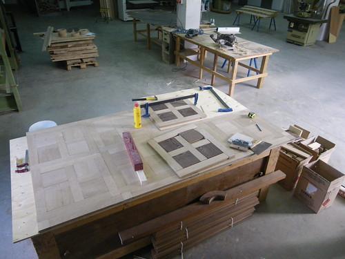 Fabricación panel roble/wenge
