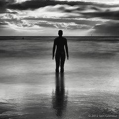 Another Place (Silver Doctor) Tags: longexposure blackandwhite sculpture beach monochrome nikon fineart crosby d800 merseyside warmtone anthonygormley d300 contrajour leebigstopper