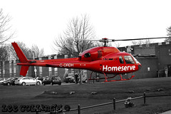 Homeserve Helicopter taking off from Garforth (Lee Collings Photography) Tags: red leeds garforth helicopter takeoff selectivecolour selectivecolouring redhelicopter